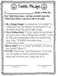 Oberlee's teacher did this with their first grade class. We are using it at home for everyone. If you tattle, you have to read the pledge again. It's working thus far.