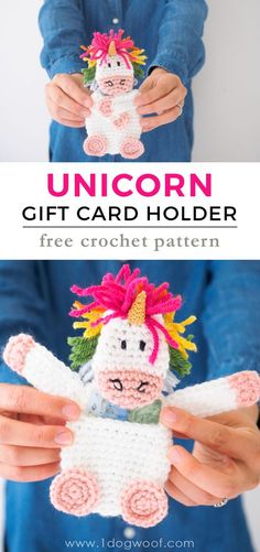 Crochet a Unicorn Gift Card Holder with this free pattern from www.1dogwoof.com