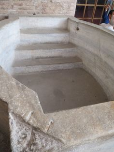 The newly unearthed baptismal font in the Hagia Sophia Museum is made of solid marble. Hagia Sophia, Cathedral, Restoration, Marble, Museum, Cathedrals, Granite, Marbles