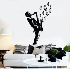 Wall Stickers Vinyl Decal Saxophone Blues Music Jazz Musician Decor (ig1019)
