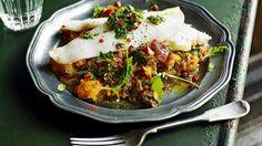Jamie Oliver's Argentine-style fish with caponata and chimichurri