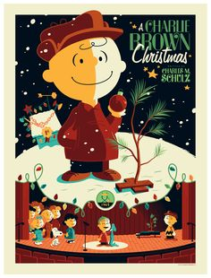 Tom Whalen - A Charlie Brown Christmas poster print MINT Peanuts Charles Schulz