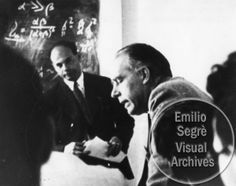 L-R; Fritz Kalckar and Niels Bohr participate in a lecture at the Copenhagen Conference, Bohr Institute. This photograph was originally part of an album owned by Victor Weisskopf, however, the image number is not known, but assumed to be 35 or 36. Credit line: Photograph by Paul Ehrenfest, Jr., courtesy AIP Emilio Segre Visual Archives, Weisskopf Collection.