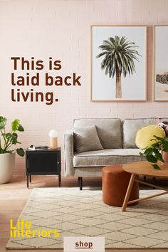 This combination of muted neutral hues, with pops of tan, timber, and bright white is our new staple summer colour palette. Boho Living Room, Home And Living, Living Room Decor, Bedroom Decor, Living Spaces, Interior Design Living Room, Living Room Designs, Estilo Interior, Living Room Furniture Online