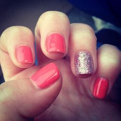 Beautiful coral cnd shellac with silver glitter a must have on your nails