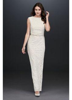 Cap Sleeve Lace Sheath Dress with Back Slit Style Ivory, 22 Older Bride Dresses, Mob Dresses, Necklines For Dresses, Formal Dresses, Davids Bridal Dresses, Bridal Gowns, Wedding Dresses, Reception Dresses, Wedding Reception