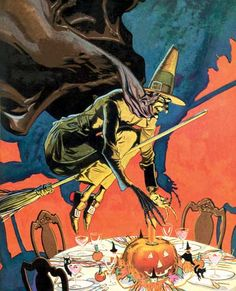 Witch on a Broomstick Hovering over a Halloween Party Table | Halloween Art Prints