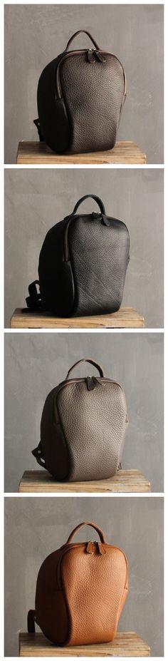 Handmade Small Top Grain Leather Travel Rucksack School Backpack Casual Daypack SQ04