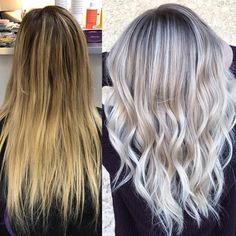 Going, going, blonde!  Brassy to blended icy blonde by @samanthahairstylist with Olaplex to keep the hair strong and healthy. #transformationtuesday #olaplex #blonde #beforeandafter #hairgoals
