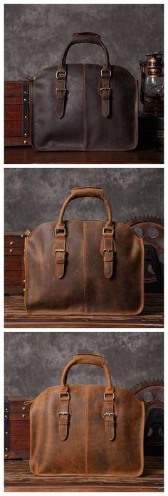 Handcrafted Antique Leather Laptop Briefcase Mens Messenger Shoulder Bag 3857