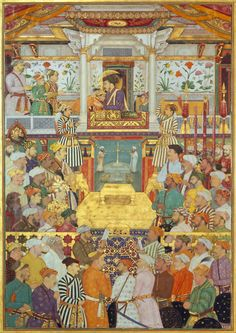 Shah Jahan Receives His Three Sons and Asaf Khan During His Accession Ceremonies by Bichitr - Famous Indian Art - Handmade Oil Painting on Canvas — Canvas Paintings Mughal Miniature Paintings, Mughal Paintings, Indian Paintings, Taj Mahal, The Royal Collection, Jaisalmer, Udaipur, Museum, Oil Painting On Canvas