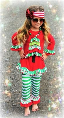 "GREEN STRIPE CHRISTMAS TREE RUFFLE PANT SET PRICE $24.99 OPTIONS: 1/2T, 2/3T, 3/4T, 4/5, 5/6 To purchase: comment ""sold"", size & email"