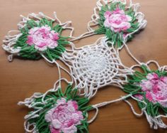 Set of 2 Beautiful, Hand Crocheted Vintage Floral Doilies
