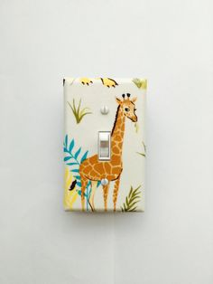 Cream Giraffe Light Switch Plate Wild Adventure Safari Cover Outlet Kids