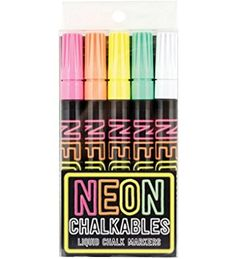 OOLY Neon Chalkables Liquid Chalk Markers, Set of 5 (130-030) Chalkboard Writing, Black Chalkboard, Chalkboard Ideas, Neon Colors, Vivid Colors, Washi, Writing Correction, Liquid Chalk Markers, It Goes On