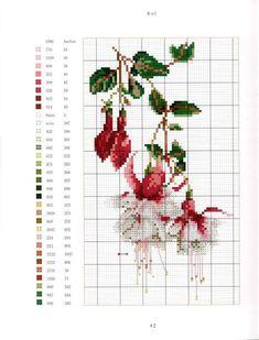 Cross Stitch Borders, Cross Stitch Flowers, Cross Stitch Designs, Cross Stitching, Cross Patterns, Counted Cross Stitch Patterns, Cross Stitch Charts, Cross Stitch Embroidery, Mosaic Flowers