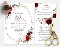 Invite friends and family in style and set the tone for your special day with this charming wedding invitation suite! #printable #wedding #reception #invitations #RSVP #details #enclosurecard #weddinginvitationsuite #weddinginvitationset #weddinginvitations #weddingstationery #SHdesigns Burgundy And Blush Wedding, Blush Wedding Flowers, Pink Flowers, Blush Pink, Reception Invitations, Wedding Invitation Sets, Invitation Suite, Wedding Stationery, Wedding News