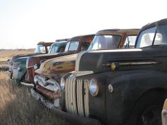 SOLD! Trucks all lined up in North Dakota- sold by VanDerBrink Auctions, LLC. 605-201-7005. Beautiful History!