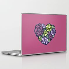 Heart of a Gardener Laptop & iPad Skin - Rose, roses, flower, flowers, garden, gardening, floral, flora, red, pink, yellow, white, mom, mother, Mother's Day, Valentine's Day, valentine, heart, hearts, love, loving, cute, sweet, vector, art, design, illustration, drawing, cartoon