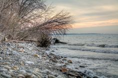 Lake Erie Bluffs - looking west on natural beach