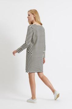 Nadia Stripe Dress in Black People Tree Ethical Fashion