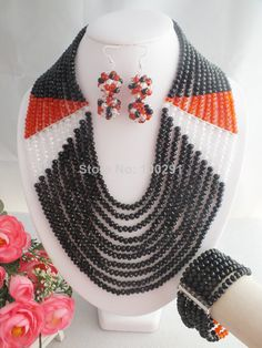 Free Shipping !! W-1073 African Beads Jewelry Set,Black Crystal Jewelry Set $69.18