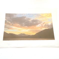 PHOTO ART PEACEFUL ZEN MOUNTAINS SKY CLOUDS LAKE WATER ORIGINAL PRINT COLOR DUSK
