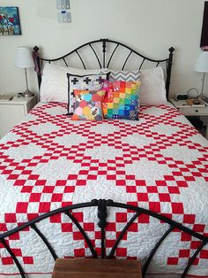 Red and White Double Irish Chain Quilt | Happier Than A Bird Quilts