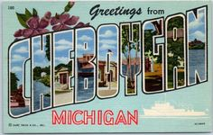 CHEBOYGAN Michigan Large Letter Postcard Colorful Curteich Linen c1940s Unused