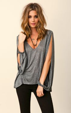 Free People: Blue Life V-Neck Open Bell Sleeve Top