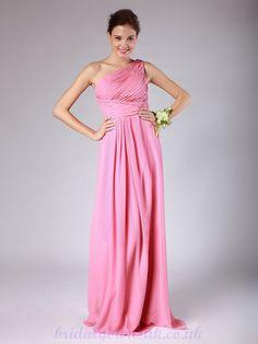 bridesmaid dresses | Pink One Shoulder Pleated Long Chiffon Bridesmaid Dress