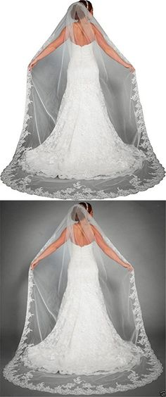 Newdeve White 3M 1T Bridal Veils for Wedding Lace Edge Free Comb (Ivory)