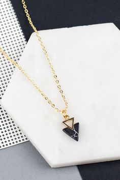 black marble double triangle necklace