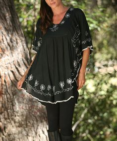 Love this Black & White Floral Embroidered Tunic by Ananda's Collection on #zulily! #zulilyfinds