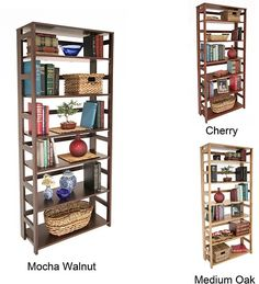 """Regency Seating Flip Flop 67-inch Folding Bookcase, shelves are 12"""" deep so you can put scrapbook cardstock packs on them (affiliate)"""