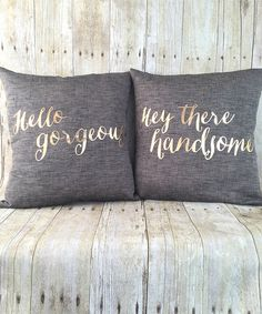 Another great find on #zulily! 'Hello Gorgeous' Pillow & 'Hey There Handsome' Throw Pillow Set #zulilyfinds