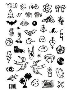 Basics 3 - Tattoonie Informations About Basics 3 Spooky Tattoos, Fake Tattoos, Mini Tattoos, Black Tattoos, Body Art Tattoos, Small Tattoos, Pretty Tattoos, Flash Art Tattoos, Kritzelei Tattoo