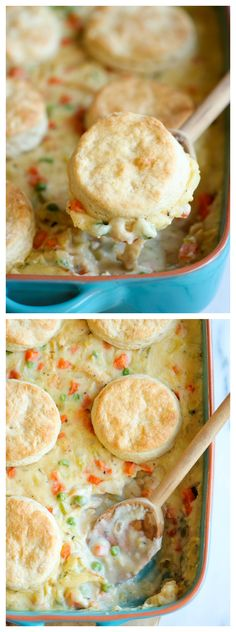 Biscuit Pot Pie - Comfort food never tasted so good in this comforting and creamy pot pie topped with easy homemade biscuits! #PotPie #Dinner