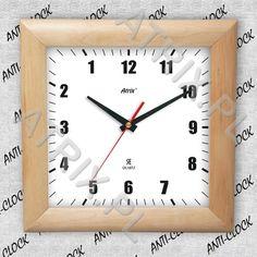 Anty-zegar drewniany kwadrat #1 ATRIX.PL