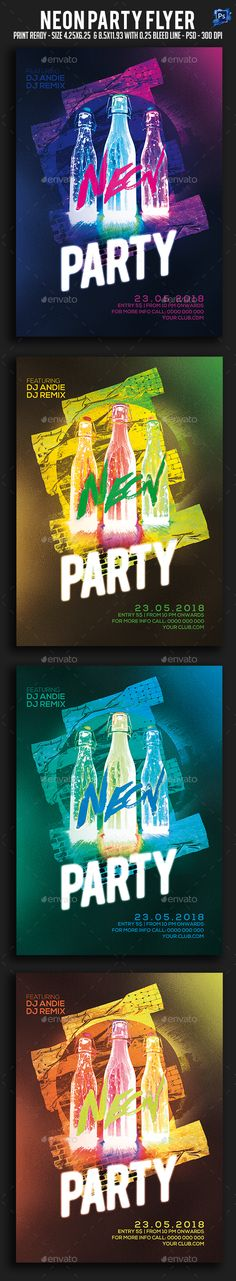Neon Party Flyer — Photoshop PSD #nyc #artist • Available here → https://graphicriver.net/item/neon-party-flyer/20741556?ref=pxcr