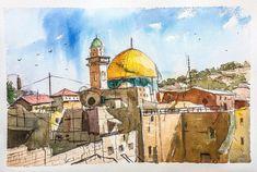 Urban Landscape Watercolor Cityscape Holy Land Jerusalem