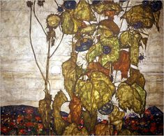 Egon Schiele / Sunflowers IV didn't know he did things like this