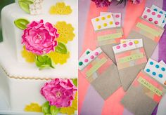 Neon Styled Shoot, candy dot guest treats
