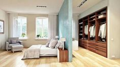 Die optimale Schlafzimmer-Aufteilung: Neben dem Schlafbereich befindet sich ein … The optimal bedroom layout: In addition to the sleeping area is a walk-in closet, which offers enough space for all favorite parts. Bedroom Closet Doors Sliding, Bedroom Closet Design, Closet Designs, Master Bedroom Design, Dream Bedroom, Bedroom Decor, Sliding Wall, Wardrobe Design, Sliding Doors
