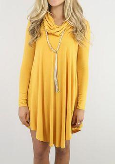 Yellow Plain Irregular Round Neck Casual Cotton Mini Dress
