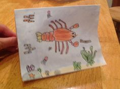 Lobster--how to draw step by step. 8 year old drew on a blank greeting card, added underwater plants and animals, traced in Sharpie, erased pencil lines, colored with colored pencils and blue watercolor wash for the background. She was able to replicate these steps from memory in miniature on her habitat map. Learn to spell LOBSTER; write fact on back of card. Underwater Plants, Learn To Spell, How To Draw Steps, Lobsters, Manatee, 8 Year Olds, Sharpie, Guinea Pigs, Fun Projects