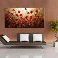 The Rise of Canvas Wall Decor Living Room - beterhome Oil Painting Flowers, Oil Painting Abstract, Abstract Wall Art, Texture Painting, Canvas Wall Decor, Floral Wall Art, Living Room Paint, Acrylic Art, Decoration