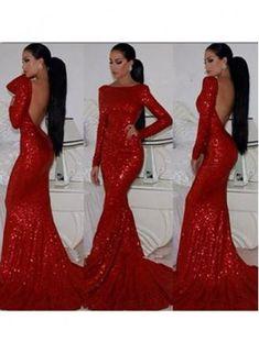 Sexy V-neck Sleeveless Mermaid Burgundy Prom Dress Sweep ...