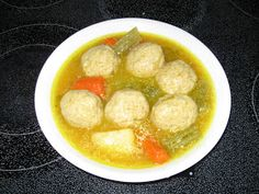 Gondi Soup- chickpea meatball with potato, carrot and onions in rich broth