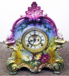 """Royal Bonn """"La Bretagne"""" Mantle Clock, Porcelain Ansonia Movement, Circa1890"""